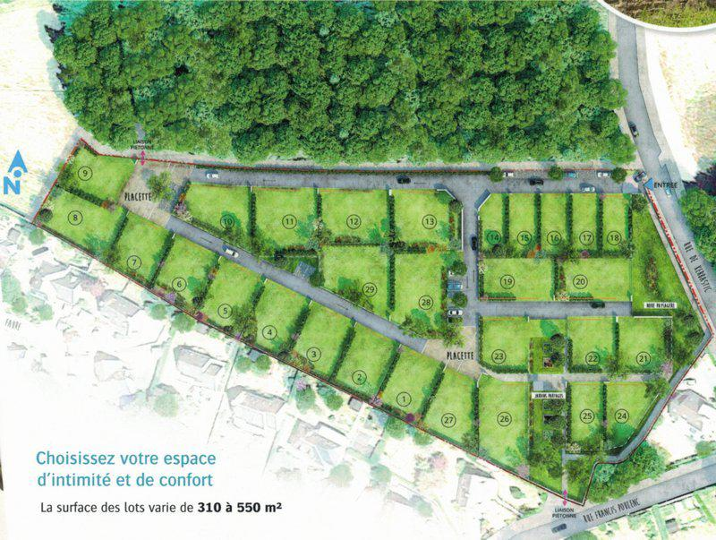 Exclu terrain 372m2 constructible cadre privé
